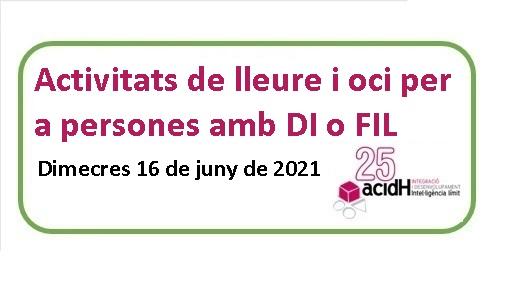Activitats de lleure d'acidH per persones amb DI o FIL – Xerrada Grup de Suport Familiar