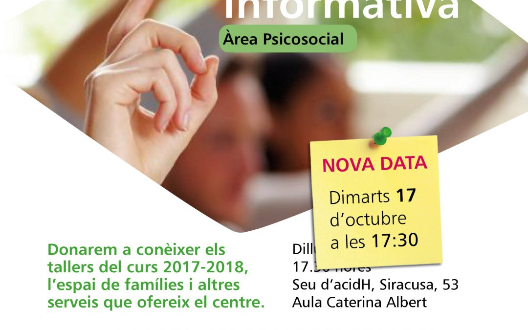 Nova data: Reunió Informativa Tallers Espai Famílies
