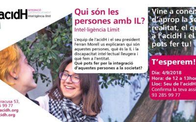 4 de setembre: PRESENTACIÓ A LA CIUTADANIA D'ACIDH I LA INTEL·lIGÈNCIA LÍMIT (IL)