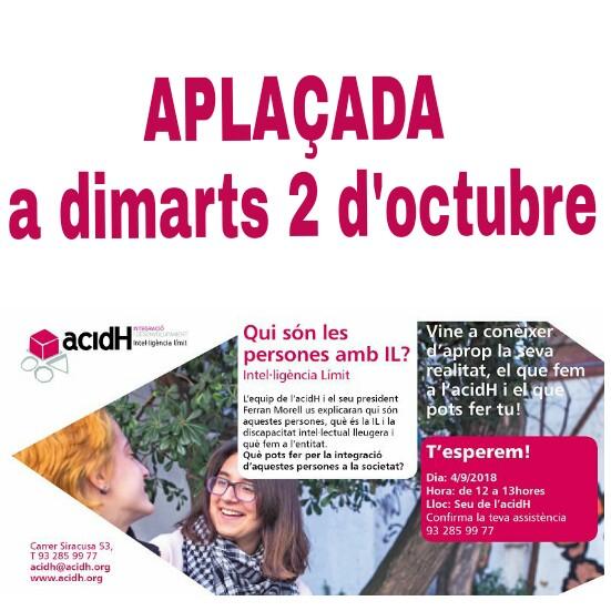Atenció: aplacem 4 de setembre: PRESENTACIÓ A LA CIUTADANIA D'ACIDH I LA INTEL·lIGÈNCIA LÍMIT (IL)