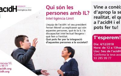 4 de desembre: PRESENTACIÓ A LA CIUTADANIA D'ACIDH I LA INTEL·LIÈNCIA LÍMIT (IL)