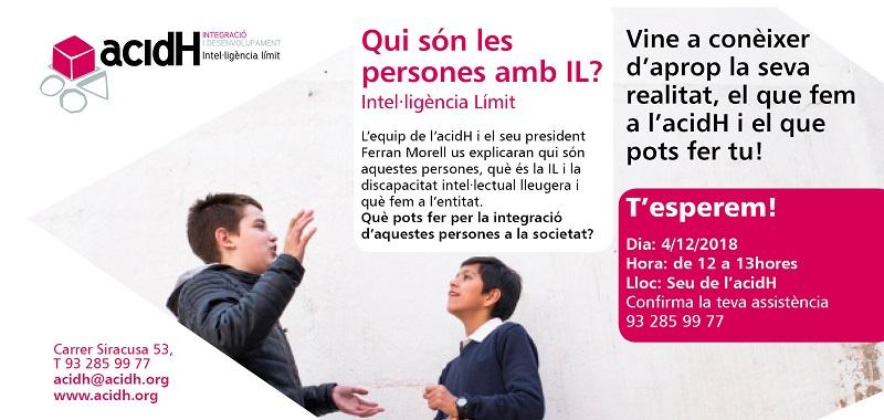 4 de diciembre: PRESENTACIÓN A LA CIUDADANIA DE ACIDH Y LA INTELIGÉNCIA LÍMITE (IL)