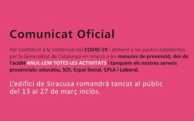 📢 COMUNICAT URGENT: Anul·lem totes les activitats d'acidH des del 13 al 27 de març